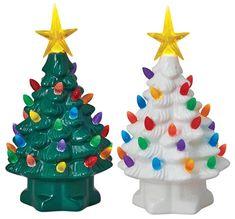 "Mr Christmas 19306 Nostalogic Christmas Tree, Porcelain, 7"" Tall"
