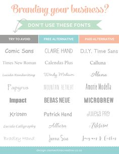 To get your business logo and branding to stand out, use unique fonts. I'll be showing you which fonts to avoid and some free and paid alternatives to use instead.…Creative ideas to make money and marketing ideas. Typography Fonts, Typography Design, Branding Design, Logo Design, Lettering, Fashion Typography, Branding Your Business, Personal Branding, Business Fonts