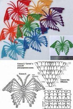La mariposa por el gancho del esquema. La labor de punto por el gancho los fragmentos del esquema