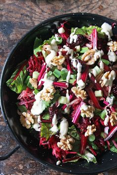 Beet, Blackberry and Apple Salad with Lemon Tahini Dressing | Veggie Desserts Blog   This salad uses the entire beetroot: root, stems and leaves. The earthy beetroot and sweet apple pairs beautifully with the creamy lemon and tahini dressing, which brightens up the flavours.