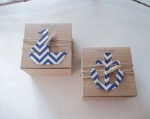 Ready to Ship 25 Nautical baby shower favor box- nautical favor box- DIY favor box kit