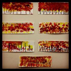 Kindergarten art project- fall tree line. www.bloomshoppe.com: