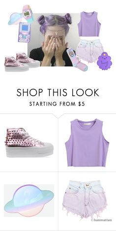 """""""lumpy space princess"""" by blackfawnn ❤ liked on Polyvore featuring UNIF, Levi's, Timex, ODD FUTURE, cute, purple, hair, pastels and OFWGKTA"""