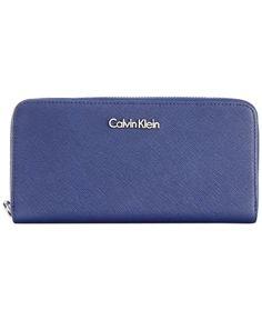 61fc5ef5c2 $53.99 Calvin Klein Saffiano Zip Around Wallet - Wallets & Wristlets -  Handbags &