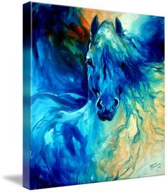 """""""EQUUS BLUE GHOST"""" by Marcia Baldwin, Shreveport, Louisiana // From my abstract equine originals, this oil painting is captured here for your fine art prints from Imagekind.  ENJOY.  And please know you may contact Marcia Baldwin for any special requests for new oil paintings. You may wish to commission an oil painting based on this ima... // Imagekind.com -- Buy stunning fine art prints, framed prints and canvas prints directly from independent working artists and photographers."""