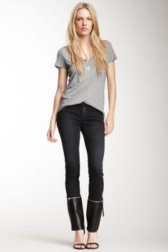 J Brand Mid Rise Leather Zip Off Skinny Jean on HauteLook