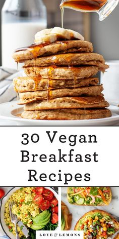 Refresh your morning routine with these healthy vegan breakfast ideas! They include easy recipes for plant-based scrambles, pancakes, oats, and more. Meal prep options included! | Love and Lemons #breakfast #mealprep #vegan #healthy Overnight Oats, Lemon Recipes, Healthy Recipes, Easy Recipes, Delicious Recipes, Cooking Recipes, Breakfast Bowls, Breakfast Ideas, Clean Breakfast