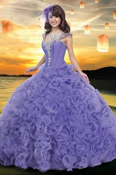 Elegant Straps Ball Gown Floor Length Quinceanera Dresses Embellished With Rhinestone