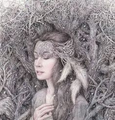 Купить Лес. - ведьма, лесная, лес, графика, картина, акварель, магия, волшебная, сказочный лес