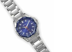 Silver tone men's blue face fashion watch 45.00 USD