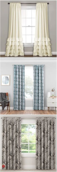 Window Treatment Ideas - Trying to find window treatment ideas? Take a look at this idea gallery of shutters, blinds, shades, and more. All the home window covering suggestions in one place. Farmhouse Curtains, Farmhouse Decor, Farmhouse Window Treatments, Living Room Decor, Bedroom Decor, Drapery Rods, My New Room, Drapes Curtains, Stores