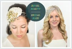 Bridal Hair updo with headband and birdchage veil and down with soft curls and headpiece