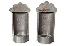 New Mexico Tin Candleholders, Pair