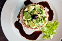 Moroccan salad: Tuna, tomato, avocado, olive - dressed with olive oil & balsamic vinegar