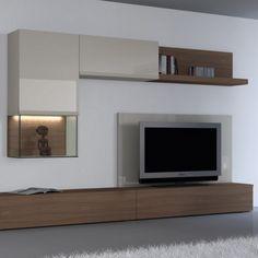 Meuble tv bois Tv Cabinet Design, Tv Unit Design, Living Tv, Living Room, Tv Panel, Tv Furniture, Media Unit, Tv Cabinets, House Design