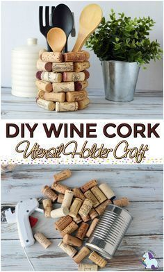 Wine Cork Craft Ideas. Love this DIY Kitchen Utensil Holder craft. Looks fun to make and use up some of my wine corks. #wine #corks #craft #DIY #winecorkcrafts #winecorks #winecrafts