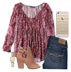Ootd by legitimately-kierstin on Polyvore featuring American Eagle Outfitters, Abercrombie & Fitch, Steve Madden, Kate Spade and Casetify