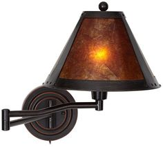 Distressed Bronze Mica Shade Swing Arm Wall Lamp Universal Lighting and Decor, $130