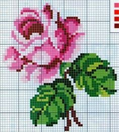 Sweet heart stuff: Cross-stitch: Delicate roses in the style of shebbi-chic (collection of sch. Cross Stitch Rose, Cross Stitch Flowers, Cross Stitch Charts, Cross Stitch Designs, Cross Stitch Patterns, Cross Stitching, Cross Stitch Embroidery, Hand Embroidery, Beading Patterns