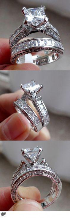 Sterling Silver Princess Cut Zircon Bague De Fiançailles Mariage Band Set Tailles 4-11