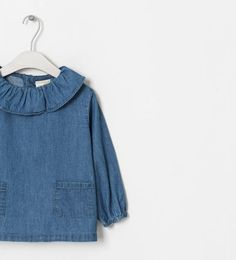 Image 3 of DENIM BLOUSE WITH FRILLY COLLAR from Zara