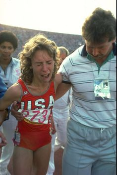 1984 - Mary Decker Track and Field, 3000 Meters, Los Angeles Summer Olympic Games  Mary Decker (USA) after the controversial race where Mary Decker and Zola Budd bumped into each other twice; the second time Budd's leg tripped Decker. Gringa and her high school cross-country teammates wept.