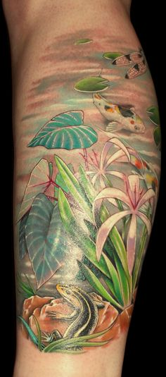 17 best tattoos forearm images feather tattoo design for Koi pond tattoo