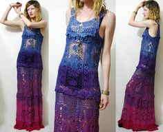 Crochet Dress VINTAGE Full Lace OMBRE Long Maxi by cruxandcrow, $329.00