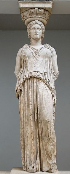A caryatid (Greek: Καρυάτις, plural: Καρυάτιδες) is a sculpted female figure serving as an architectural support taking the place of a column or a pillar supporting an entablature on her head. [Here: A caryatid from the Erechtheion, standing in contrapposto, displayed at the British Museum]