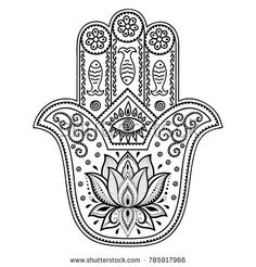 "Similar Images, Stock Photos & Vectors of Hamsa hand drawn symbol with lotus. Decorative pattern in oriental style for interior decoration and henna drawings. The ancient sign of ""Hand of Fatima"". Hamsa Hand Tattoo, Hand Tattoos, Hamsa Tattoo Design, Hamsa Art, Hamsa Design, Eye Tattoo Meaning, Tattoos With Meaning, Style Oriental, Oriental Fashion"