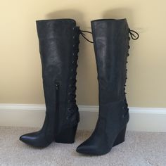 Great Italian made boots - NWOT NWOT - Super stylish black Italian boots with lace tie up the calf - wedge style heel - never worn Shoes