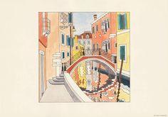 Canal, bridge and fondamenta – Reproductions  #Venice #print #colors #bridge #art