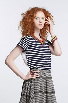 Striped & Pleated Skirt - Anthropologie.com