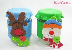 como fazer pote vidro decorado natal reciclagem eva papai noel rena boneco de neve (9)