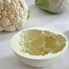 "cauliflower casting, a ""Reversed Volumes"" bowl designed by Mischer'Traxler Pottery techniques Ceramic Clay, Ceramic Bowls, Ceramic Pottery, Slab Pottery, Talavera Pottery, Ceramic Decor, Ceramic Techniques, Pottery Techniques, Cerámica Ideas"
