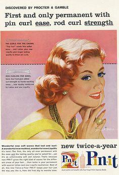 Pin-it permanent ad, 1958 (art byJon Whitcomb). #vintage #1950s #hair #beauty