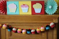Bake Shop Yarn Cupcake Pom Pom Garland by CupcakeWishesStore