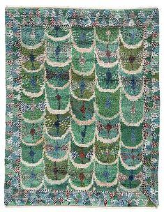 "MARIANNE RICHTER, MATTA. ""Fjädern, grön"". Rya. 253 x 191 cm. Signerad AB MMF MR. - Bukowskis Rya Rug, Stencil Fabric, Latch Hook Rugs, Swedish Weaving, Cool Rugs, Weaving Techniques, Rug Hooking, Soft Furnishings, Textures Patterns"