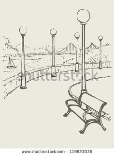 Bench and lights along the road of the park Perspective Drawing Lessons, Perspective Art, River Drawing, Bench Drawing, Pencil Drawings For Beginners, Creative Arts Therapy, Canvas Art Projects, Angel Drawing, Landscape Drawings