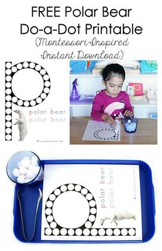 """This free polar bear do-a-dot printable uses a real polar bear image, is an instant download, and is super-easy to access and use! Perfect for an Arctic unit or a letter """"p"""" theme. Post includes links to at least one free do-a-dot printable for each letter of the alphabet - Living Montessori Now"""