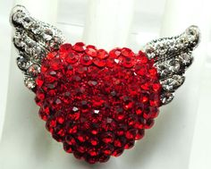 Winged Red Heart/Valentine's Day/Gift for Her/Love Ring/Rhinestone/Cocktail Ring/Adjustable/Under 20 USD/