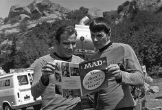William Shatner and Leonard Nimoy are reading MAD magazine between takes on the original Star Trek series. I loved MAD magazine AND Star Trek! Star Trek 1, Star Trek Series, Star Trek Original, William Shatner, Space Ghost, Leonard Nimoy, Star Trek Enterprise, Star Trek Voyager, Beatles