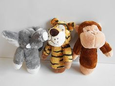 Safari Animal Rattle Soft and washable choose from elephant, tiger or monkey approx perfect party bag toy 3 rattles shown at each Party Bag Toys, Party Bags, Party Bag Fillers, Safari Animals, Perfect Party, Monkey, Elephant, Teddy Bear, Ideas