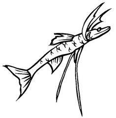 Monster Fish, : Deep Sea Monster Fish Tripod Fish Coloring Pages