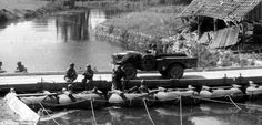 On Ouve near a shed in ruins at a place called The small dock, a Dodge WC 51 rolls on a pontoon (pontoon bridge pneumatic here in slight average load supported version, vehicle) Dodge, Saint Sauveur, Online Archive, Us Army, World War Two, Picture Show, Wwii, France, In This Moment