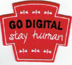 voor de echte digital freaks: stay human! Drink Sleeves, Badge, Digital, Style, Swag, Badges, Outfits