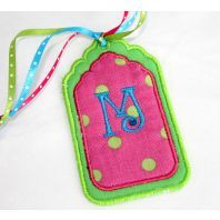 In The Hoop - Embroitique.com luggage tag embroidery design