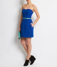 Electric blue no sleeves dress. Boutique Lingerie, Electric Blue, Going Out, Strapless Dress, Dresses With Sleeves, Collection, Fashion Ideas, How To Wear, Outfits