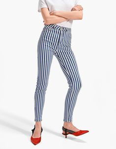 Stripe Skinny Jean - Jeans | Stradivarius United Kingdom