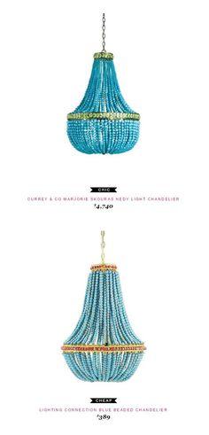 Currey & Co Marjorie Skouras Hedy Light Chandelier $4,740  vs Lighting Connection Blue Beaded Chandelier $389